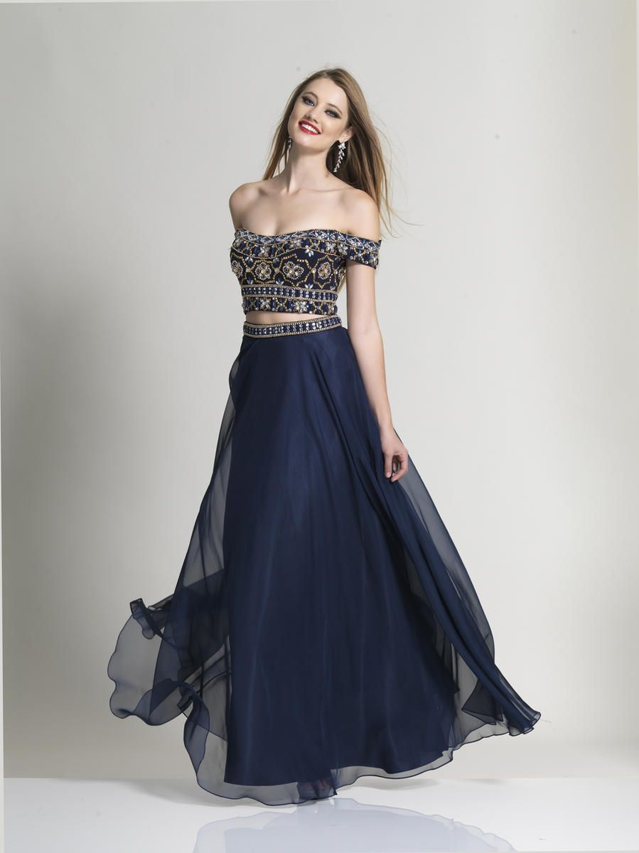 a86ff3523e3cd Dave and Johnny 2224 is a long flowing chiffon two-piece prom dress with off -the-shoulder beaded crop top.