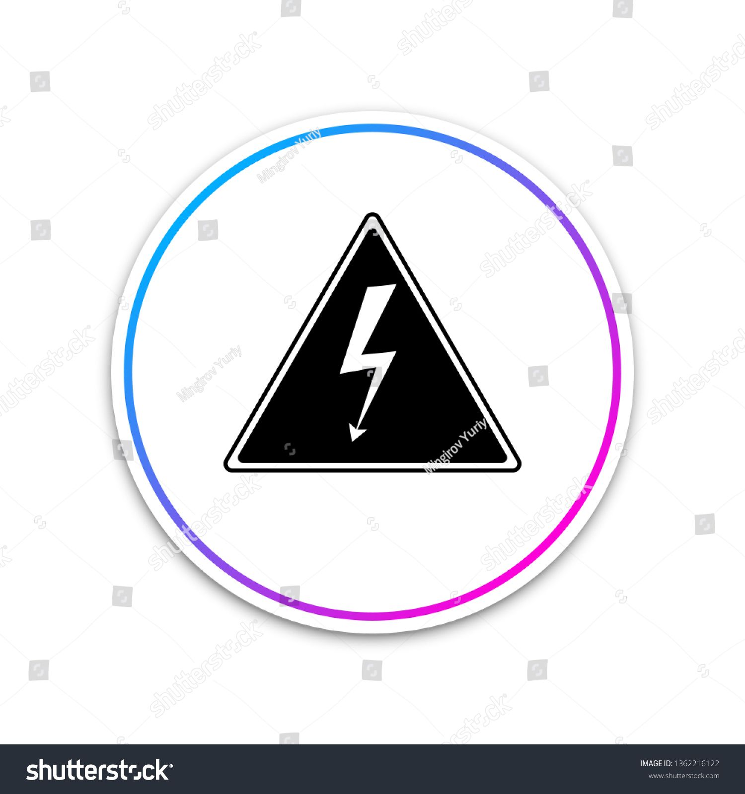 High voltage sign icon isolated on white background