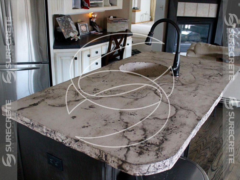 Veined Kitchen Island Concrete Countertop Concrete Countertops