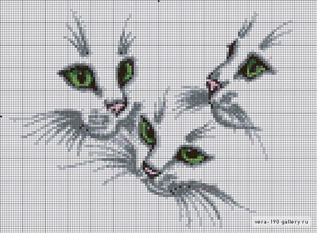Схемы вышивки котов гладью