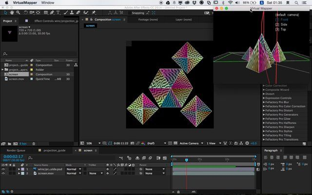 Utility tool for making projection mapping. You can preview 3d projected image in realtime from a editing software supports Syphon. This tutorial shows how to use it with Cinema4D and After Effects.  プロジェクション・マッピング制作支援ツールです。編集ソフトからリアルタイムで3Dスクリーンに投影されたイメージを表示することができます。この動画では、Cinema4DとAfter Effectsを併用したVirtualMapperの使い方を解説します。(詳細記事 http://baku89.com/article/1850)  Download https://github.com/baku89/VirtualMapper/releases  AESyphon http://tobiasebsen.dk/experiments/aesyphon/