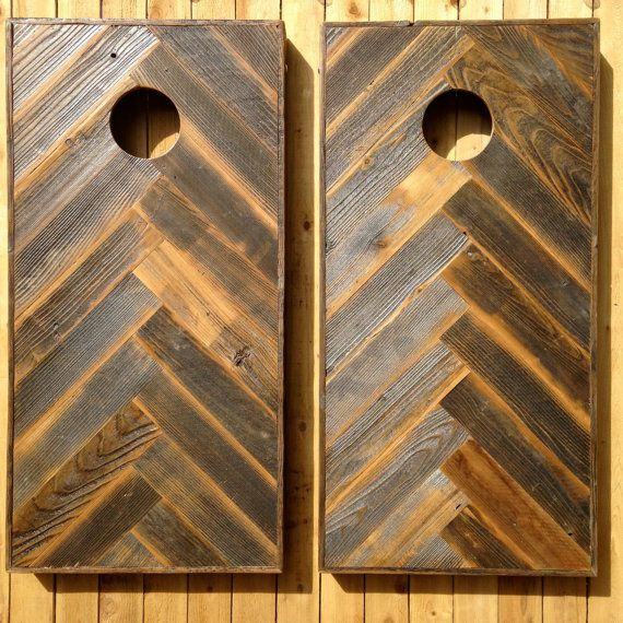 Wooden Corn Hole Game Cornhole Game by Colorado Joe's Reclaimed Wood HerringboneChevron 39