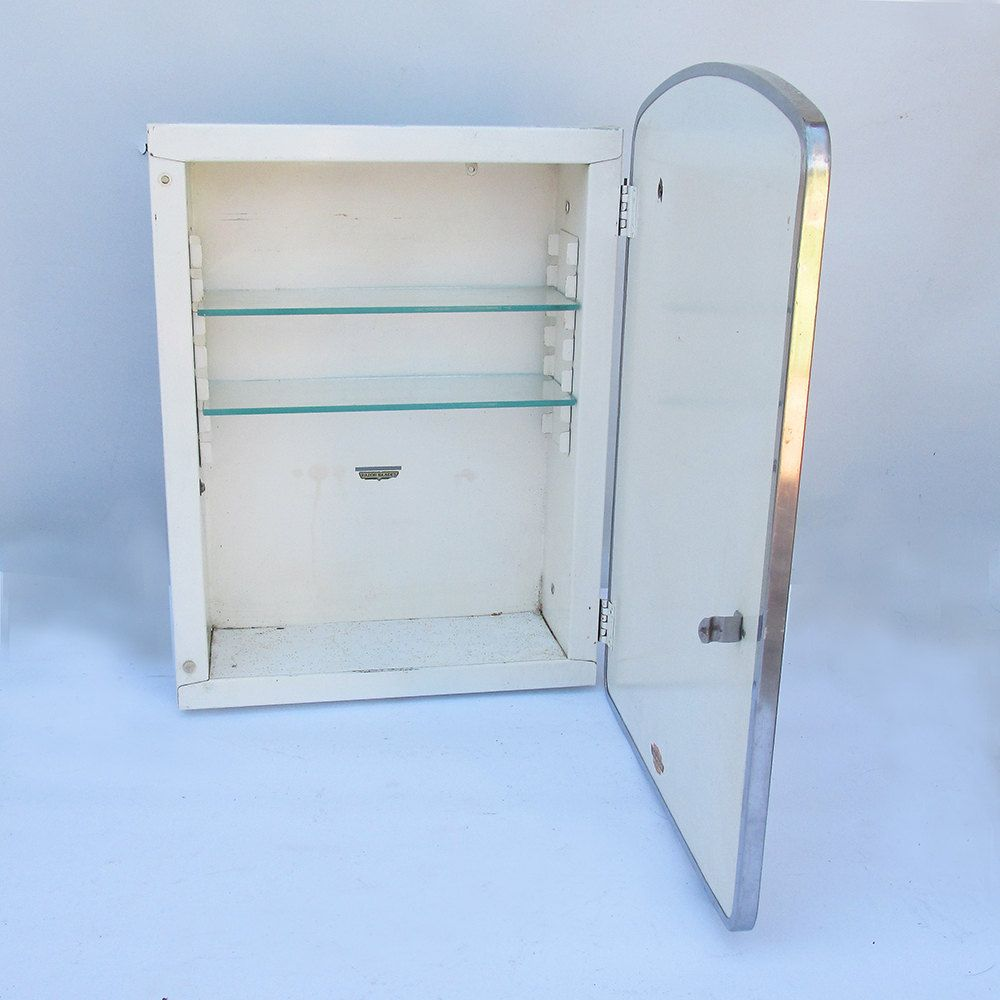 1930s 40s Lawson Mirrored Medicine Cabinet With Glass Shelves U0026 Razor  Storage Slot