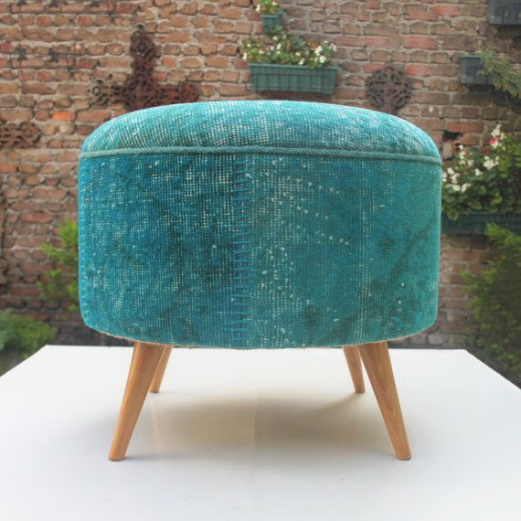 Round Ottoman, Upholstery Ottoman, Teal Color, Vintage Fabric, Furniture,  Boho Furniture-CUSTOM MADE