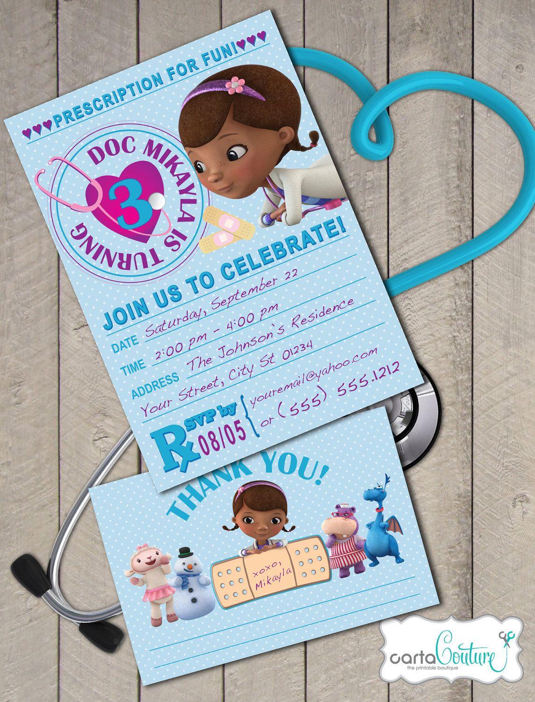 Doc McStuffins Prescription DIY Printable Invitation and Thank You Card Set by CartaCouture. $10.00, via Etsy.