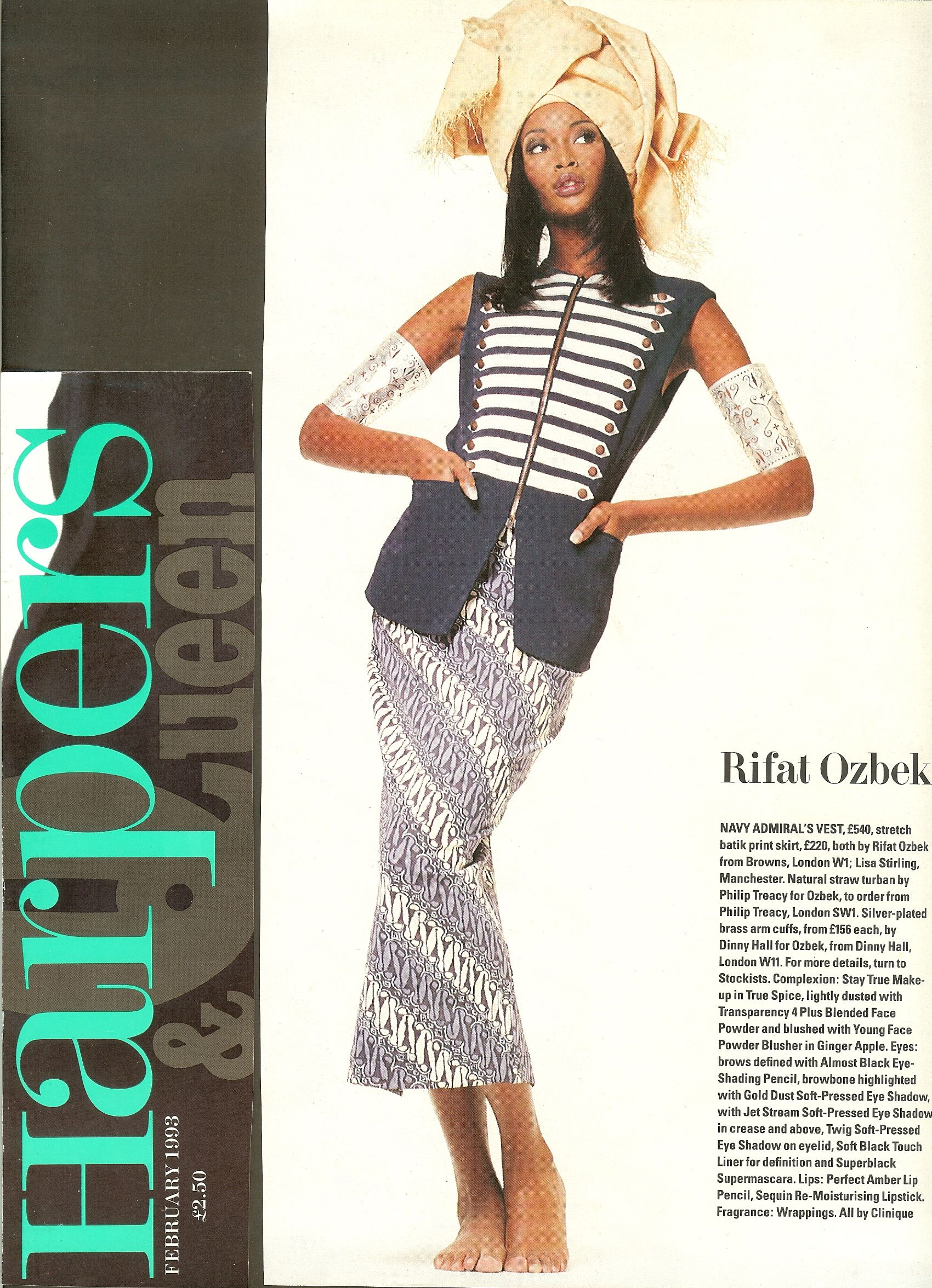 Dinny Hall for Rifat Ozbek Silver Plated Brass Arm Cuffs in Harpers & Queen  Magazine, Modeled by Naomi Campbell.