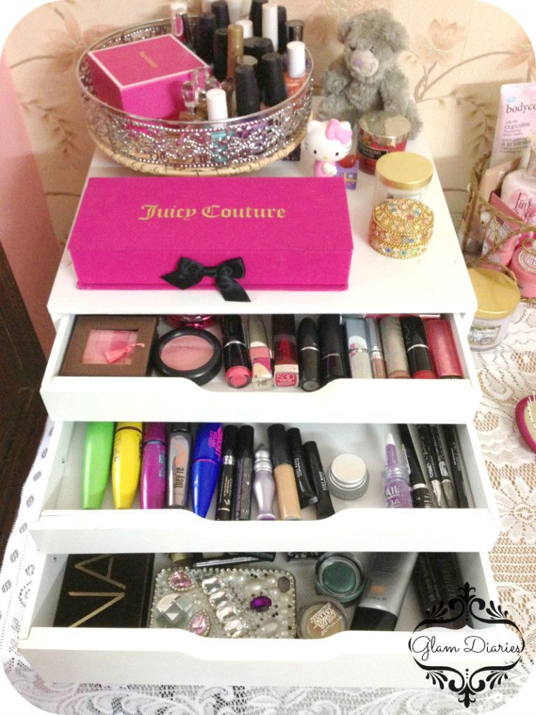 White 3 Drawer Makeup Storage from Michaels Glam Diaries