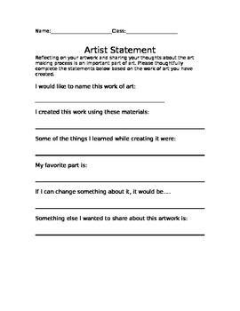 Artist Statement Guide Artist Statement Artist Statement
