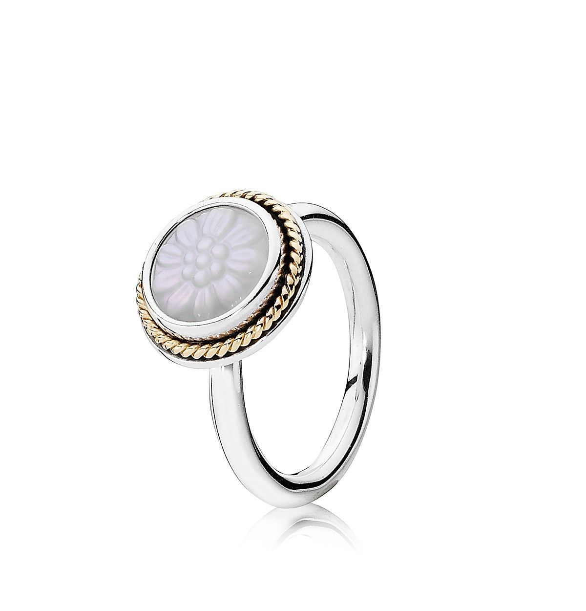 PANDORA Ring  Sterling Silver 14K Gold  MotherofPearl