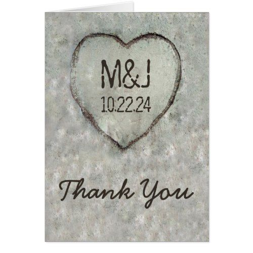 Woodland Wedding Thank You Cards Carved Heart Birch Tree Wedding Thank You Card