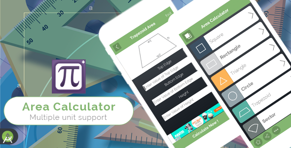 Area Calculator for Android Full Application with PSD