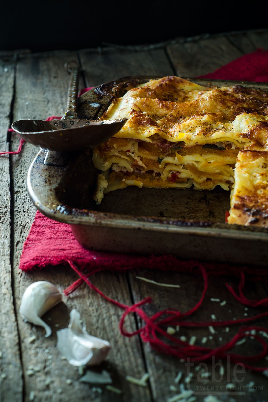 pumpkin, prosciutto & ricotta lasagne with chilli based on the recipe in the august 2014 issue of delicious. magazine 500g ricotta 1-2 cloves of garlic, finely chopped ¾ cup milk freshly ground...