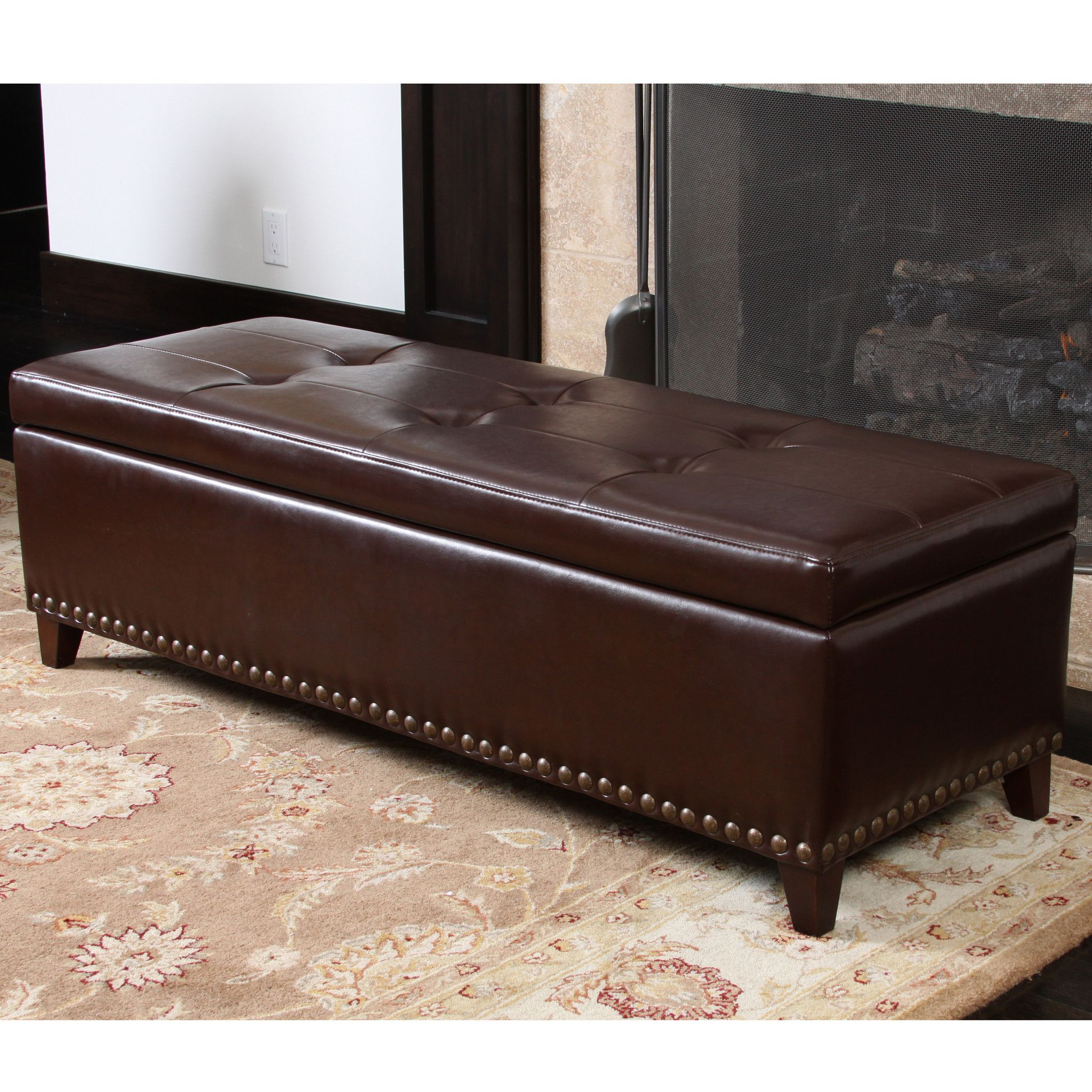 Charleston Rectangle Tufted Leather Storage Ottoman Bench Leather Storage Ottoman Storage Ottoman Bench Leather Storage Bench
