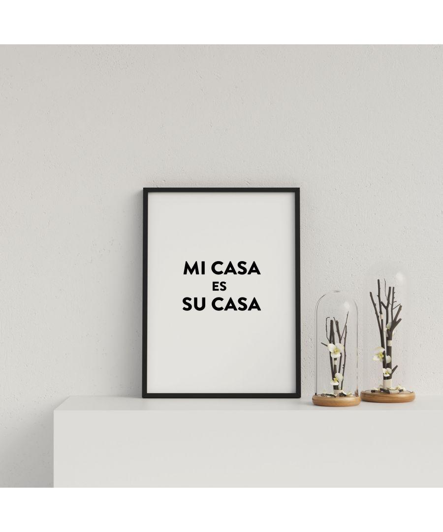 Gallery Print & Art Typography Mi Casa v4 Bl on W - Black Frame Wood - One Size