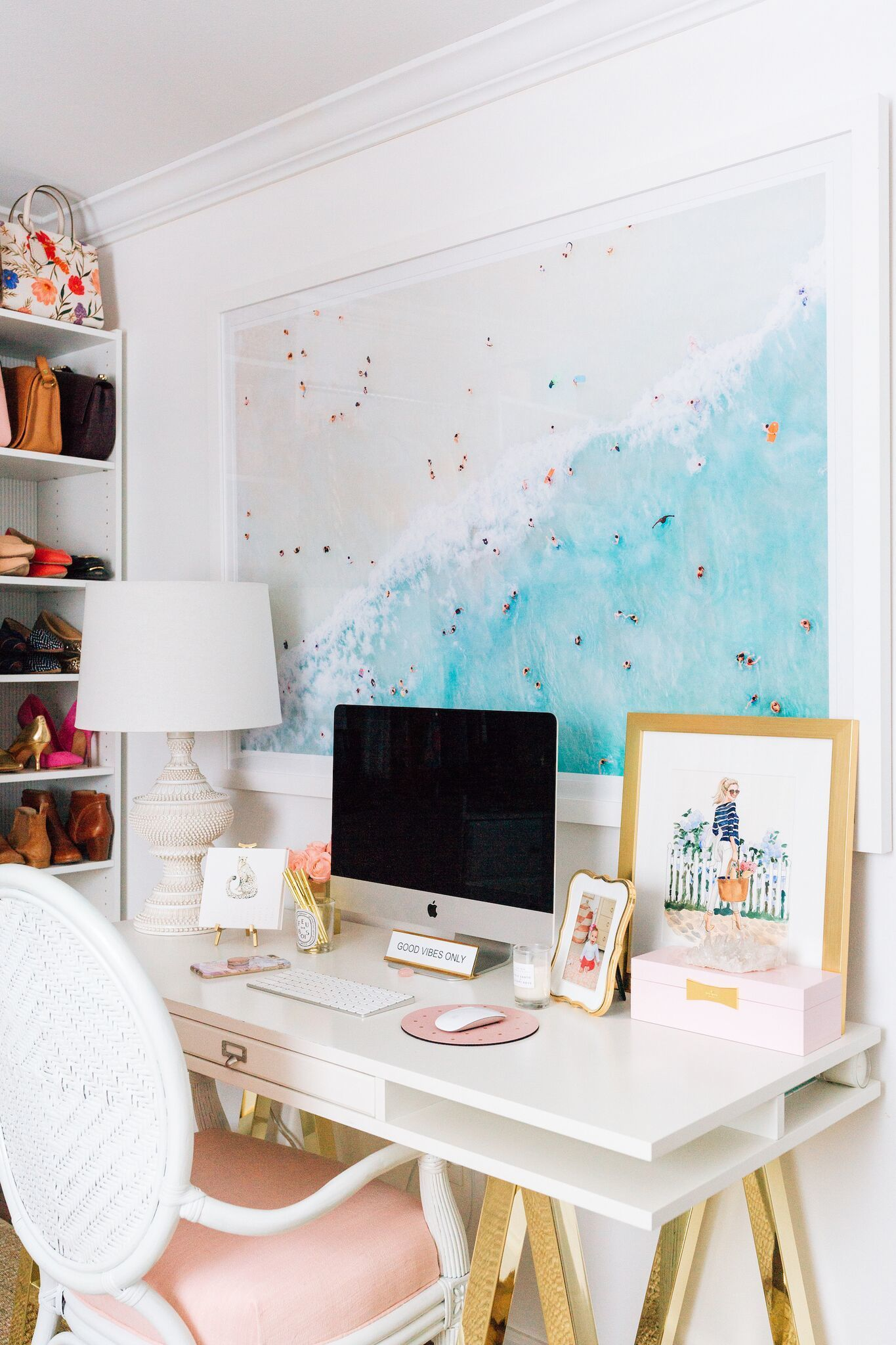 Home/Room Tour: Julia of Lemon Stripe's Beachy Office Vibes -   22 desk decor shelves