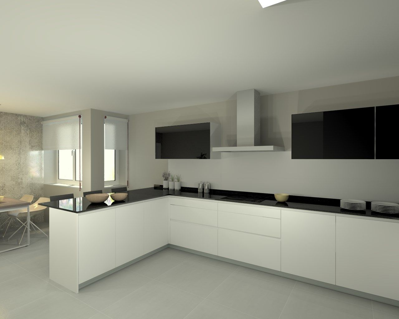 Modelo line e blanco encimera granito negro cocina for Cocinas de granito negro
