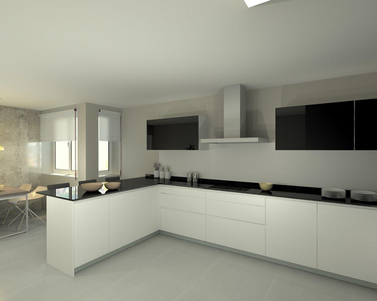 Cocina santos modelo line e blanco con encimera granito for Encimera cocina granito