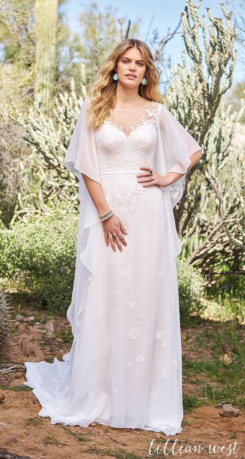 Style slim aline gown with flutter sleeves lillianwest