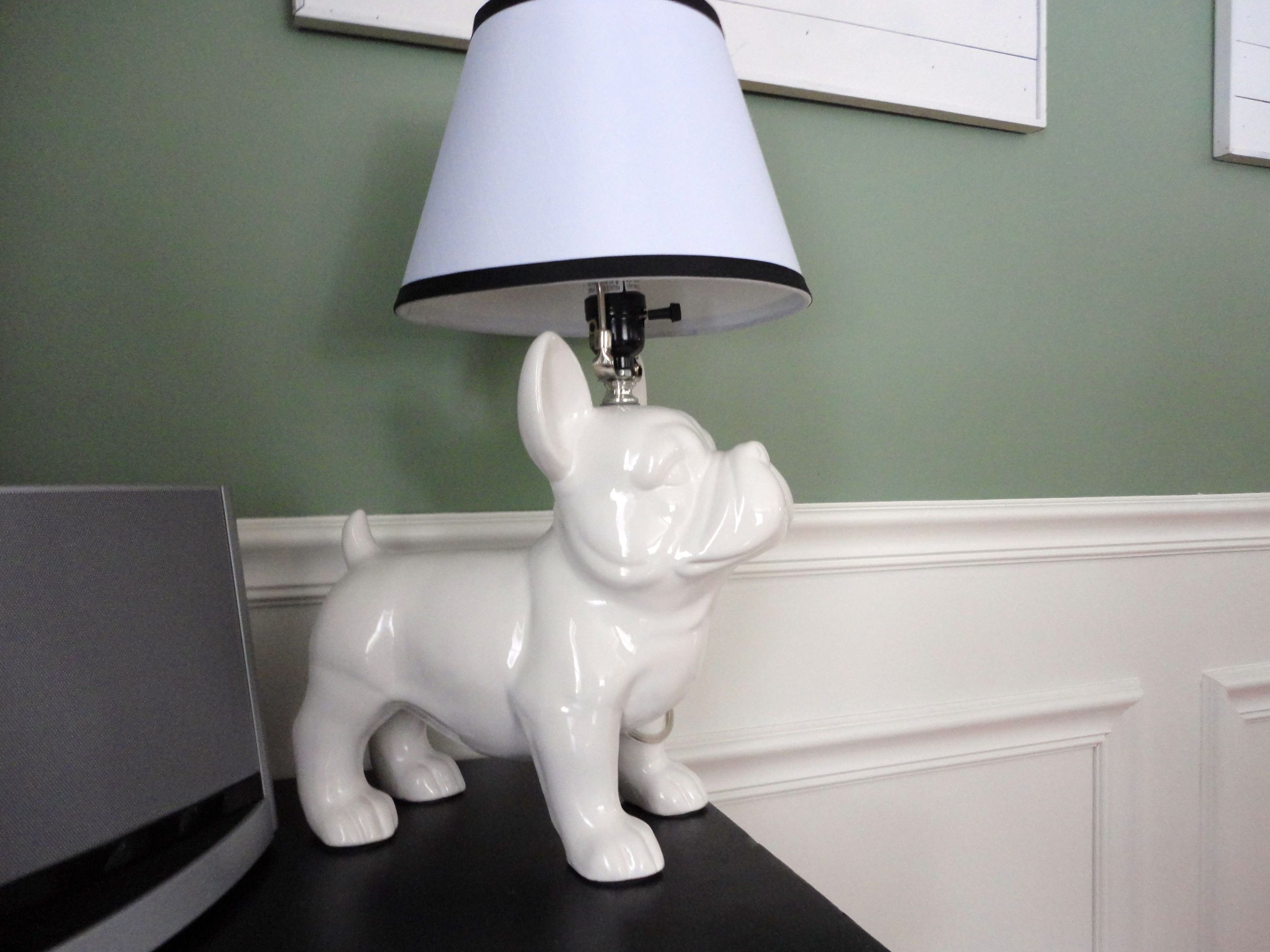White French Bulldog Lamp Country Cottage Living Room Country