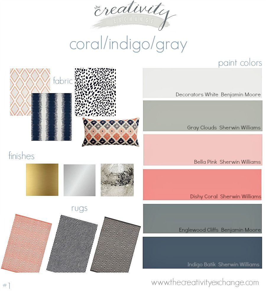 Coral indigo gray layered mix moody monday creativity for How to mix grey paint