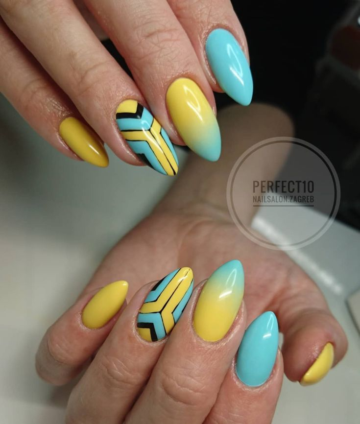 91 Best Blue And Yellow Nail Designs Yellow Nails Yellow Nails Design Nail Designs