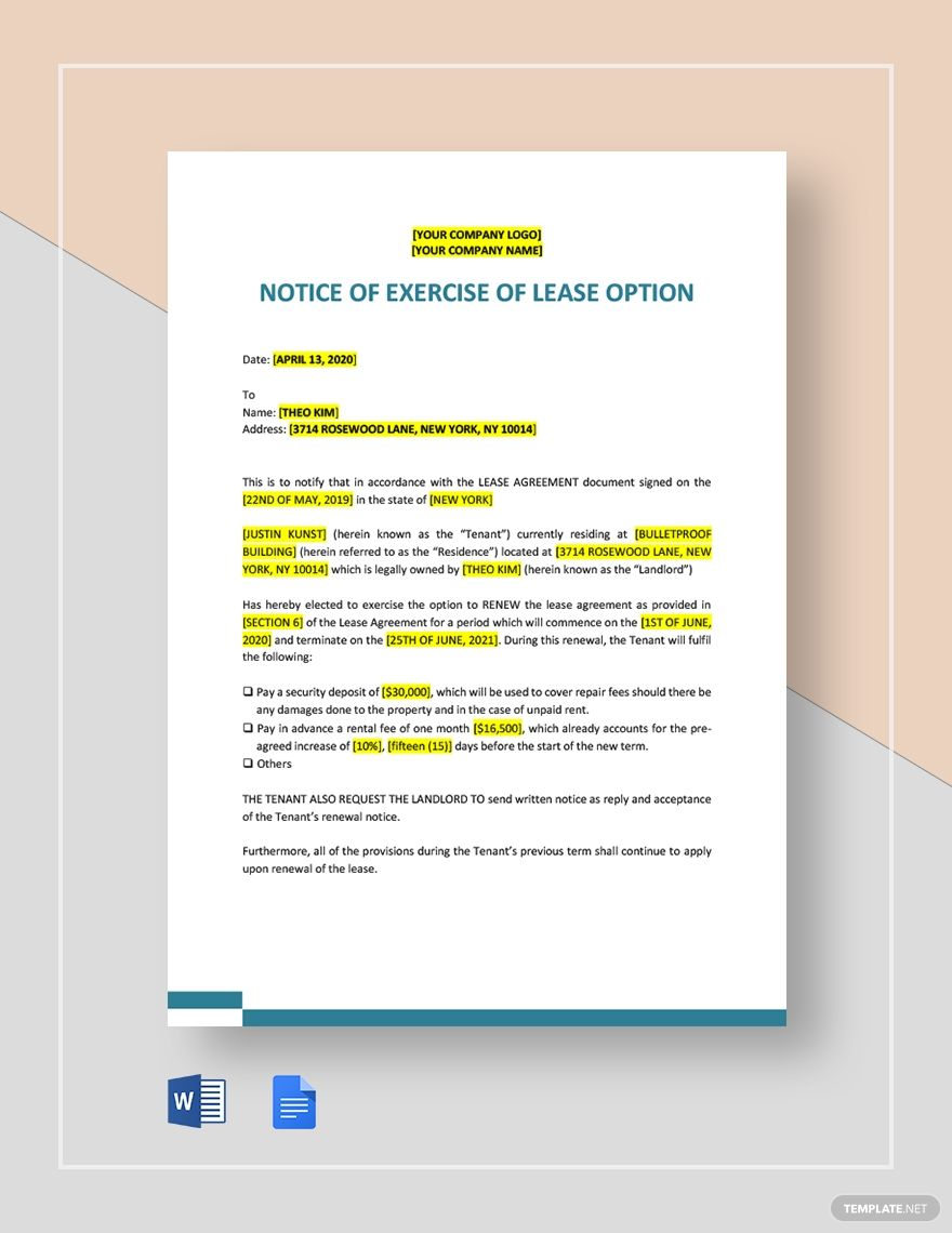 Notice Of Exercise Of Lease Option Template Ad Paid Exercise Notice Lease Template Option Lease Option Document Sign Word Doc