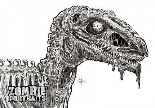 Zombie Raptor Head : Zombie Dinosaur Week! - Zombie Art by Rob Sacchetto