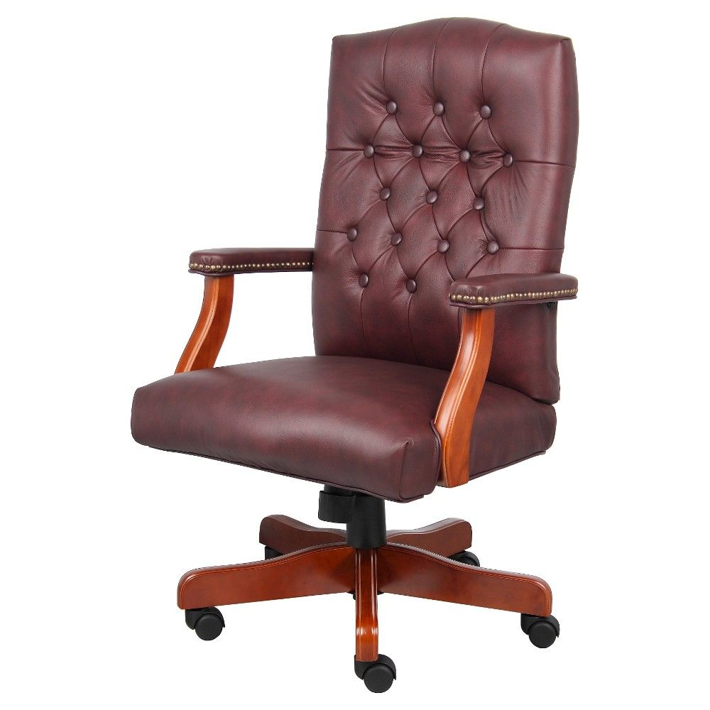 Executive Leather Chair Executive Leather Chair With Cherry Finish Burgundy Red Boss