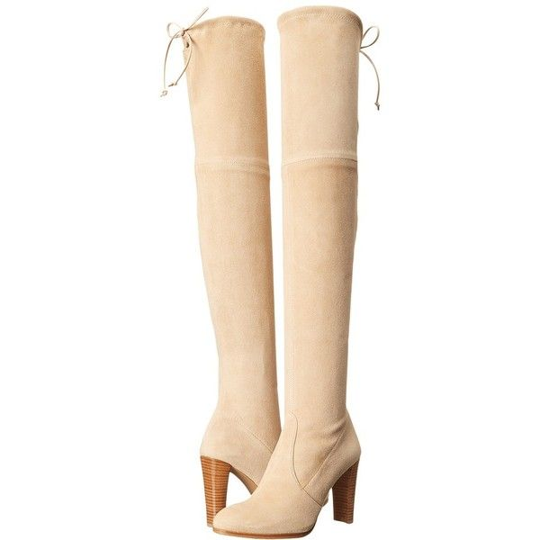 Stuart Weitzman Highland (Buff Suede) Women's Dress Pull-on Boots featuring polyvore, women's fashion, shoes, boots, over-the-knee boots, over-the-knee high-heel boots, suede thigh-high boots, suede thigh high boots, faux suede boots and over the knee boots