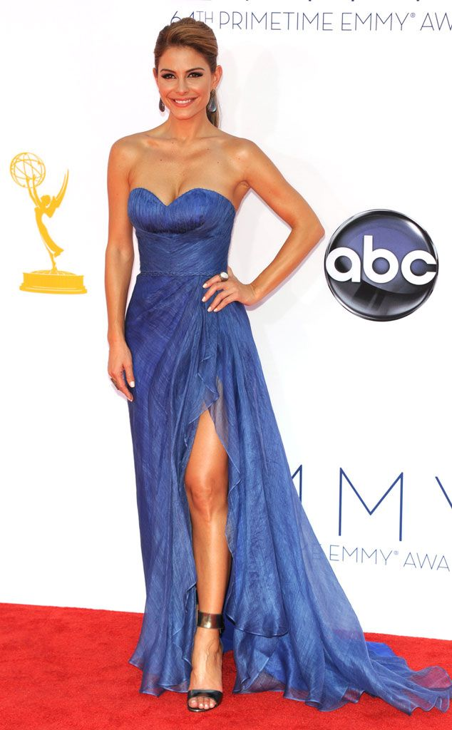 Maria donned Oliver Tolentino's blue strapless design featuring a thigh high slit at the 2012 Emmy Awards.