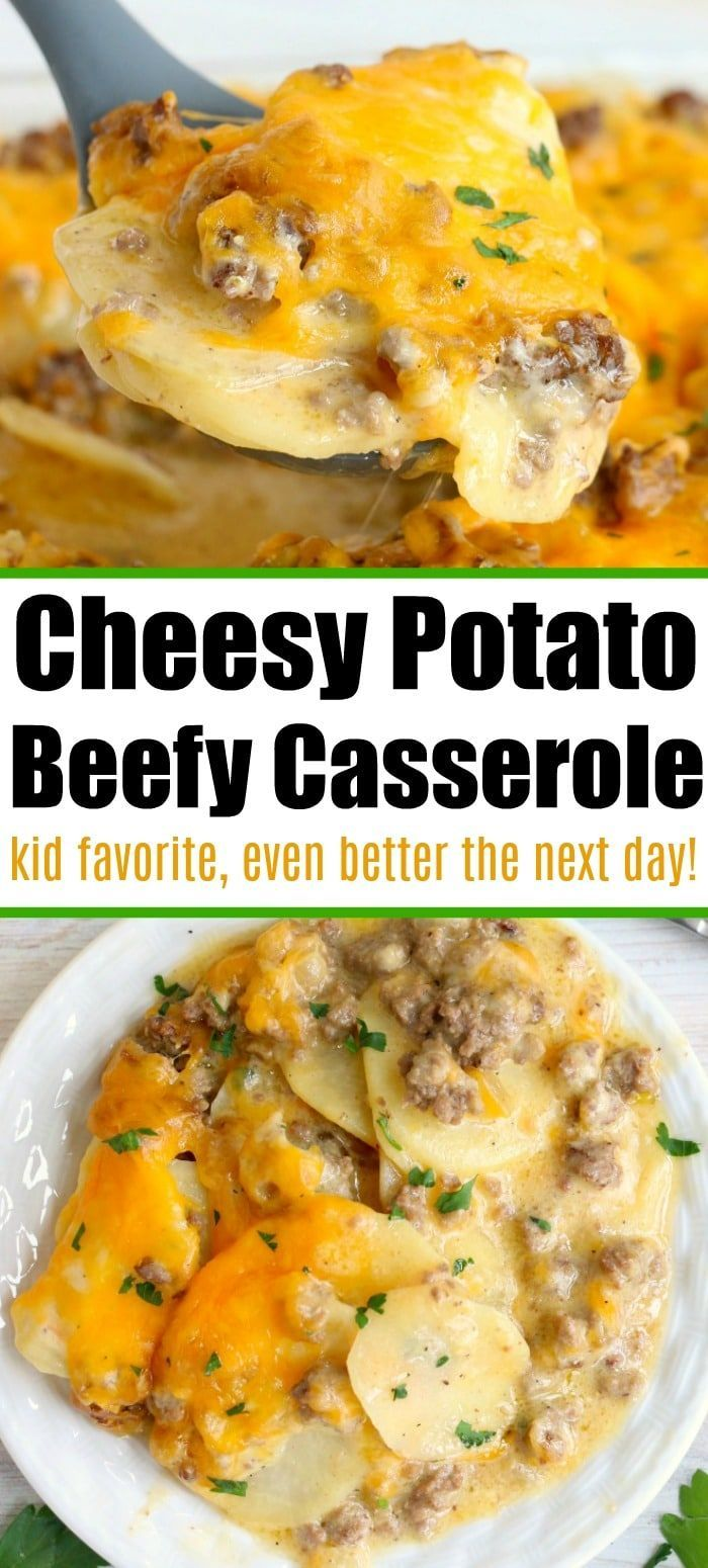 Cheesy Ground Beef Potato Casserole Is The New Favorite Breakfast Bake In 2020 Beef Casserole Recipes Dinner With Ground Beef Beef Dinner