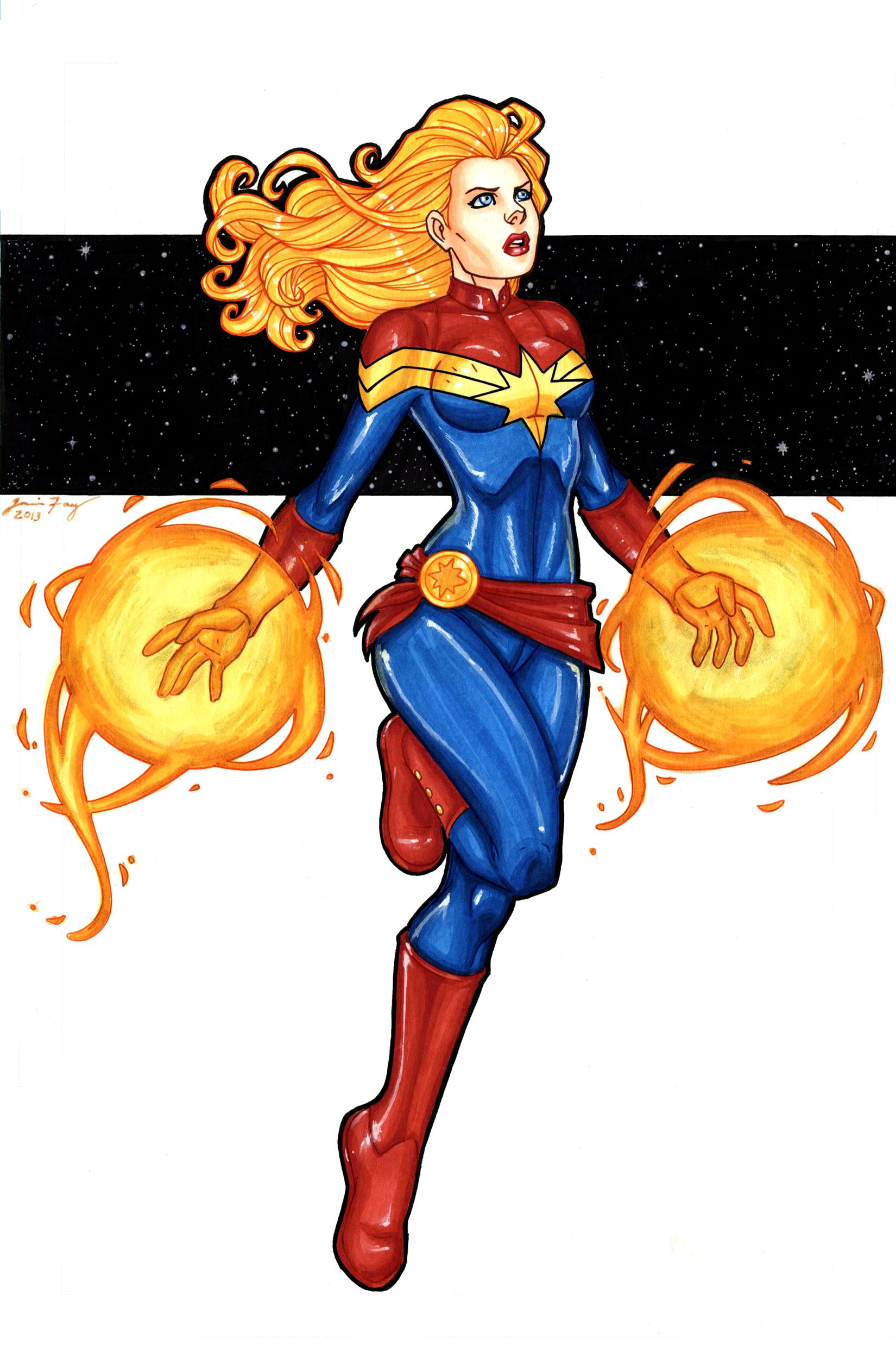 Captian Marvel Hand Colored By Jamiefayx On Deviantart Marvel Captain Marvel Best Comic Books
