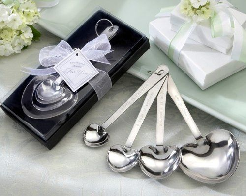 Love Beyond Measure' Heart Measuring Spoons in Gift Box - Total 48 sets by Kate Aspen. $114.50. Set of 4 stainless steel measuring spoons with both traditional measurements and measurements of love. Each set of 4 spoons feature 'measures of love' on one side with traditional measurements on the other. 'A Pinch of Patience' = 1/4 teaspoon, 'A Dash of Kindness' = 1/2 teaspoon , 'A Spoonful of Laughter' = 1 teaspoon, and 'A Heap of Love' = 1 tablespoon. The set of measuring ...