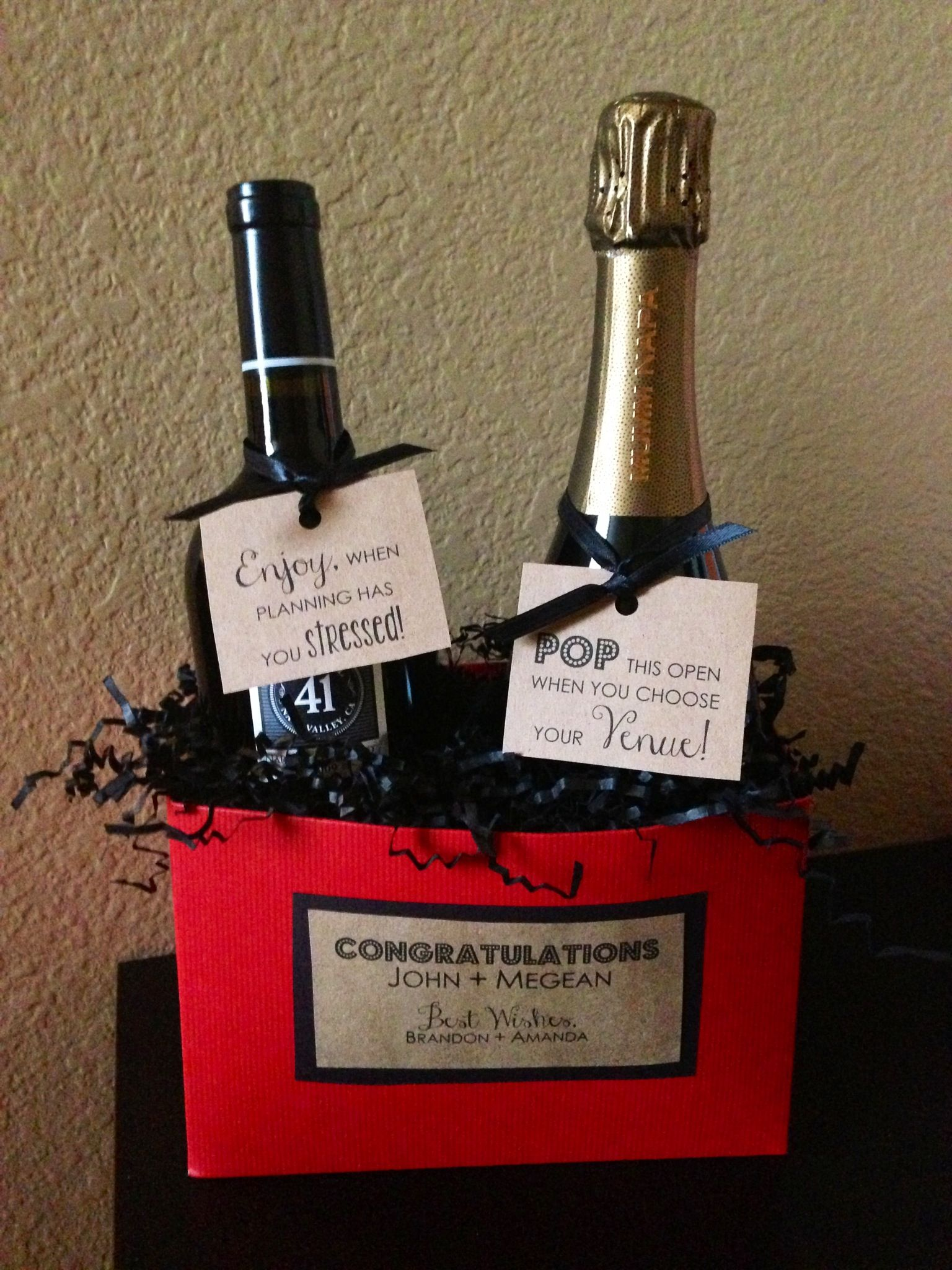 I Made This For Friends As An Engagement Gift A Bottle Of Wine To Open When Wedding Planning Starts To Get Stress Easy Engagement Gifts Engagement Gifts Gifts