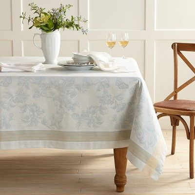 Easter Bunny Jacquard Tablecloth, Blue #williamssonoma
