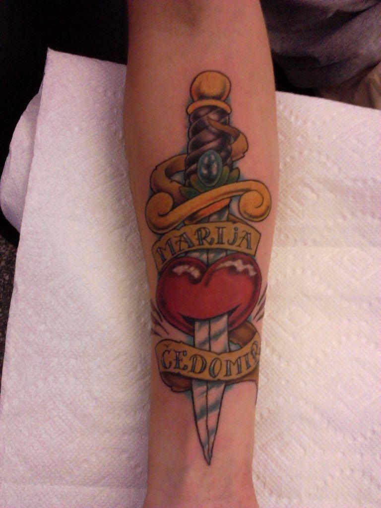 Dagger tattoo meanings itattoodesigns - Heart Dagger Tattoo Stickertattoo Done By Joejuggie At Tattoo Factory