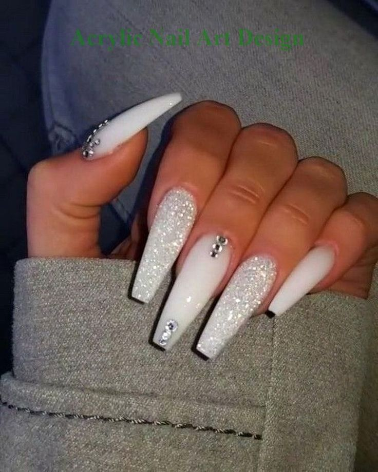 30 Casual Acrylic Nail Art Designs Ideas To Acrylic Nail Set Nails Design With Rhinestones White Acrylic Nails