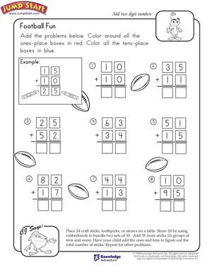 Football Fun 2nd Grade Math Worksheets Jumpstart Fun Math Worksheets 2nd Grade Math Kids Math Worksheets