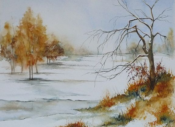 Plaine Neigeuse By Abby On Artquid Art Tree Art Watercolor Art