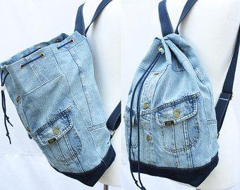 jeans rucksack umgewidmet jean jacke gro en eimer kordelzug tasche vintage 80er jahre der 90er. Black Bedroom Furniture Sets. Home Design Ideas