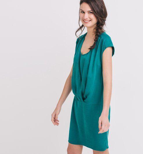 Robe drapée Femme vert émeraude - Promod