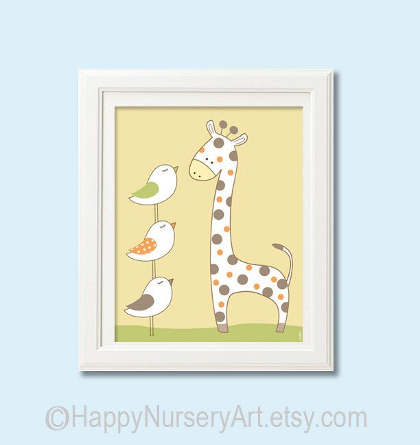 Nursery giraffe art, baby room decor, animals, birds, unisex, yellow ...