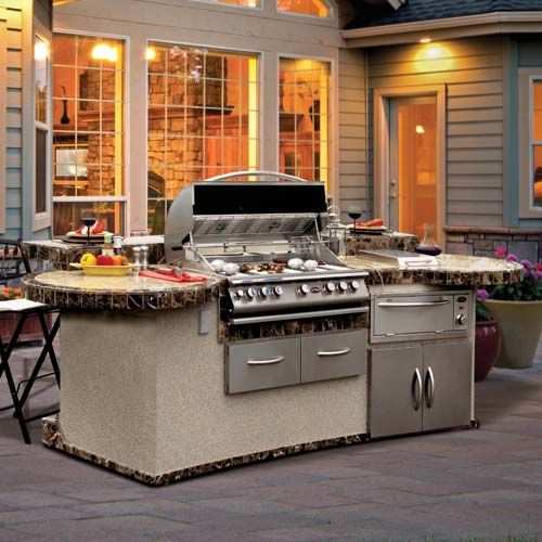 Cal Flame Gpv3032 Grand Pavilion Outdoor Bbq Island Led Lighting With Ipod Station At Calflamebbq Com Outdoor Barbeque Outdoor Bbq Kitchen Bbq Grill Island
