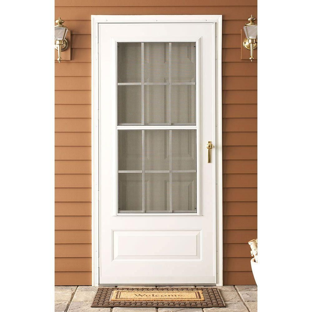 Emco 36 In X 80 In 300 Series White Universal Colonial Triple Track Aluminum Storm Door With Nickel Hardware E3ctn36wh Aluminum Storm Doors Storm Door Home Depot Storm Doors