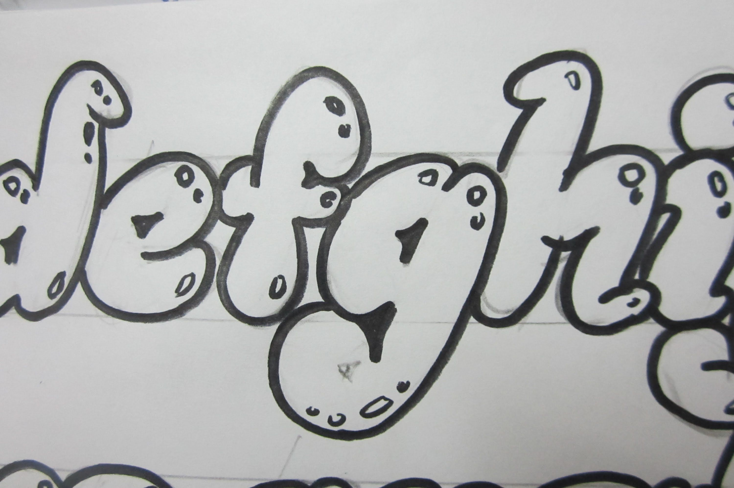 how to draw lower case letters bubble letters