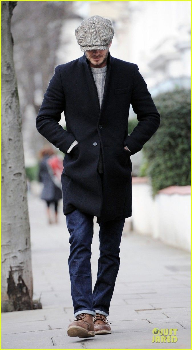 7c08c9047ea David Beckham hides his face with a newsboy cap while out and about on  Monday (February 4) in London