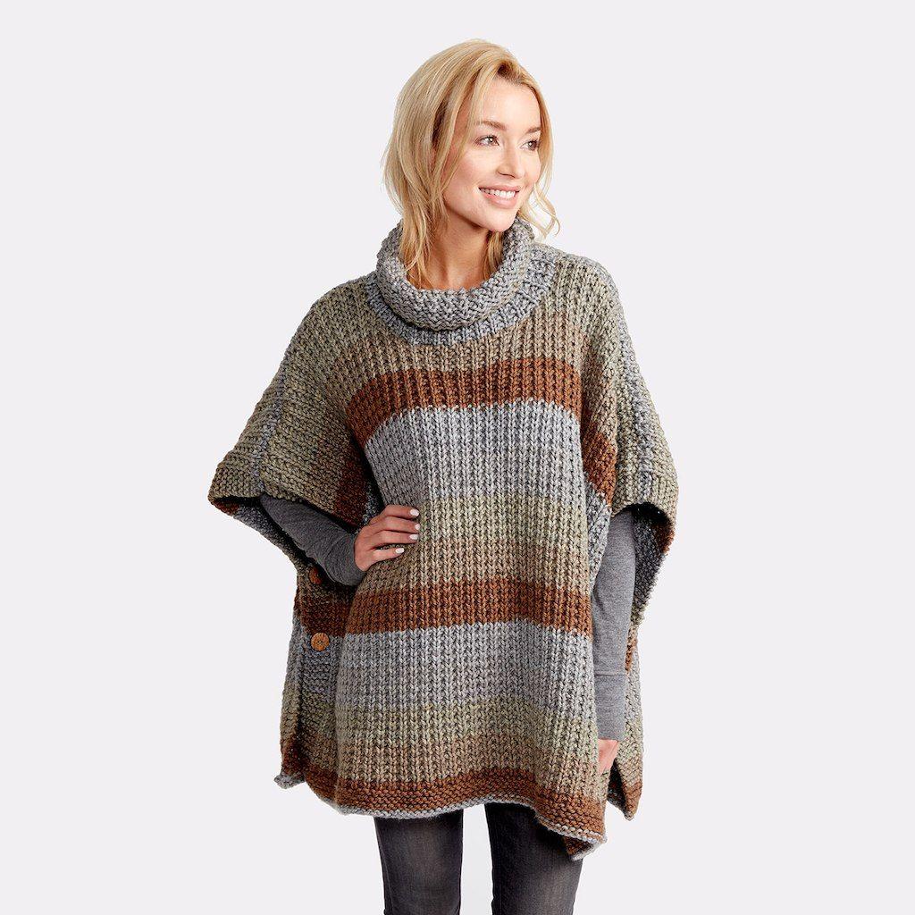 Caron® Tea Cakes™ Cozy Up Knit Poncho | Stitch, Knit shawls and Shawl