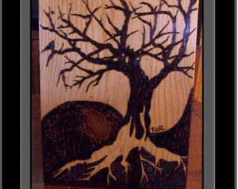 Yin Yang Treeyin Arttree Of Life Artwolf ArtTree Artwood Burned Art PyrographyNaturehowling Wolfwall Arthome Decorrustic