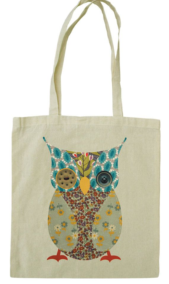 Cute owl cotton tote bag, vintage fabric and button design ...