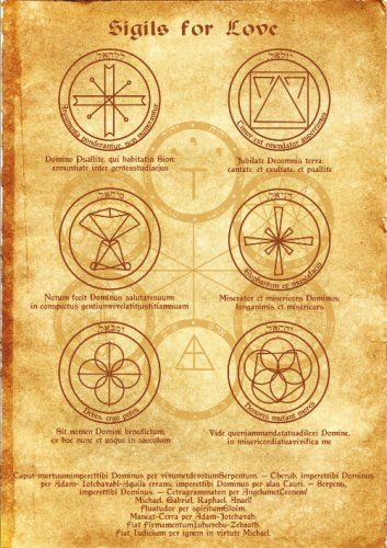 Sigils for Love Scroll Geniuses Kabbalah poster wicca pagan print